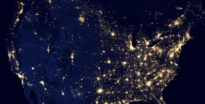 DARPA: Composite image of the United States' city lights assembled from data acquired by the Suomi National Polar-orbiting Partnership (NPP) satellite