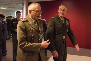 Marine Corps Gen. Joe Dunford, right, chairman of the Joint Chiefs of Staff, and Italian Chief of Defense Gen. Claudio Graziano , DoD photo by D. Myles Cullen
